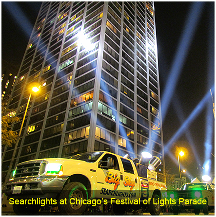 Searchlights at Chicago's Festival of Lights Parade