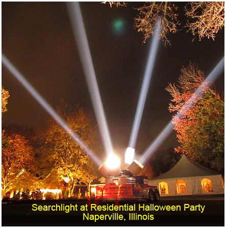 3 Searchlights at Big Sky Searchlights, Plainfield, IL