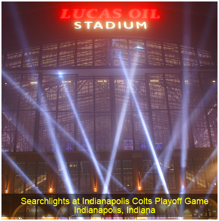 Searchlights at Indianapolis Colts Playoff Game, Indianapolis, IN