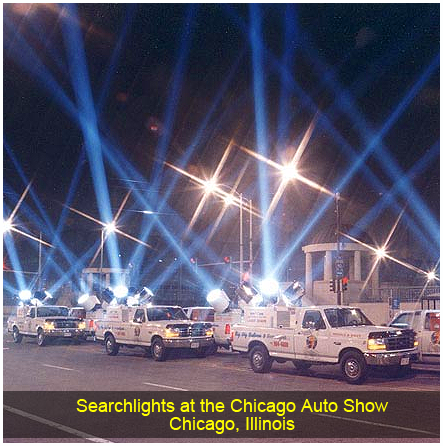 Searchlights at the Chicago Auto Show, Chicago, IL