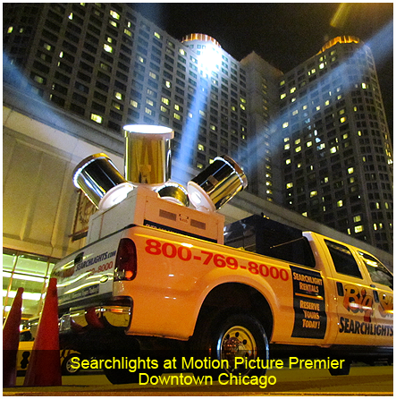 Searchlights at Motion Picture Premier, Downtown Chicago