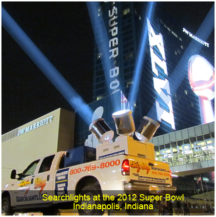 Searchlights at the 2012 Super Bowl, Indianapolis, IN